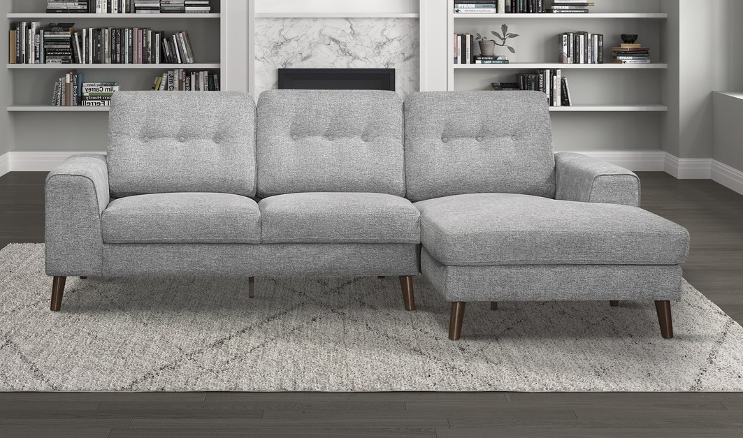 Homelegance 9300GY-SC 2 pc Winston porter Alexia gray textured fabric mid century modern sectional sofa with chaise