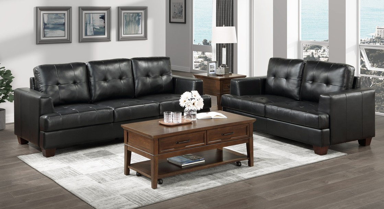 Homelegance 9309BK-SL 2 pc Hinsall black faux leather fabric sofa and love seat set