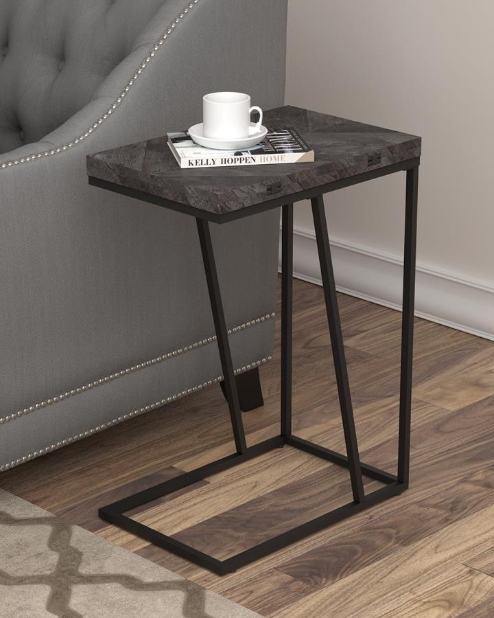 931156 Carbon loft bailex grey top and black finish legs snack chair side end table