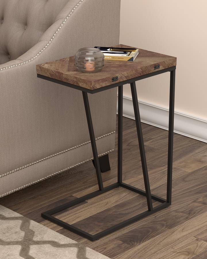 931157 Carbon loft bailex tobacco top and black finish legs snack chair side end table