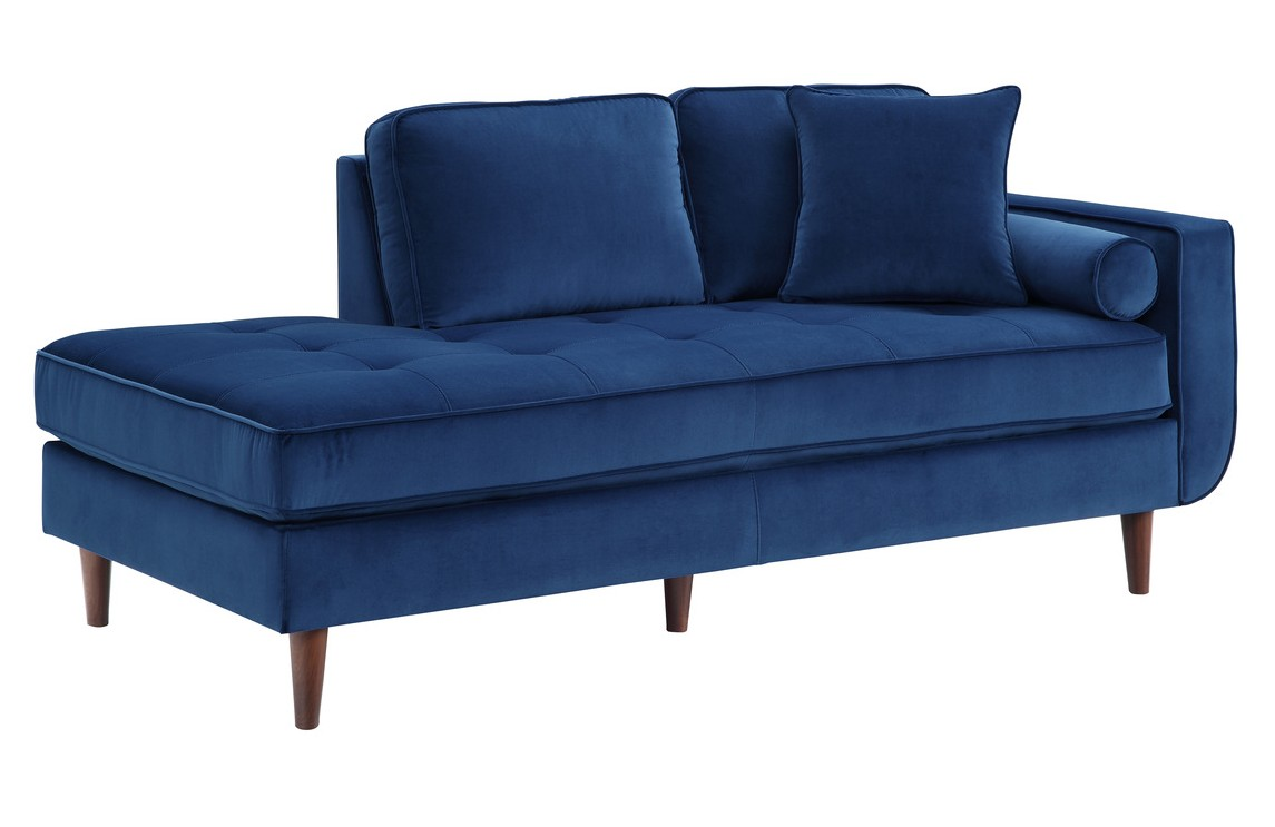 Homelegance 9329BU-5 Rand mid century modern blue velvet fabric chaise lounger with curved arm