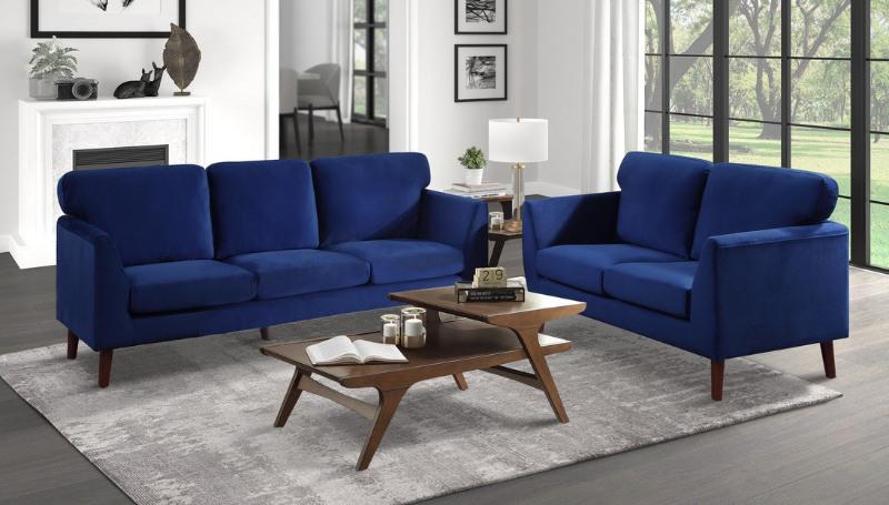 Homelegance 9338BU-2PC 2 pc Everly quinn bethelridge mid century blue fabric sofa and love seat set