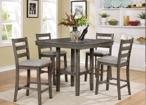 Asia Direct 9342 5 pc wire brushed grey finish wood counter height dining table set
