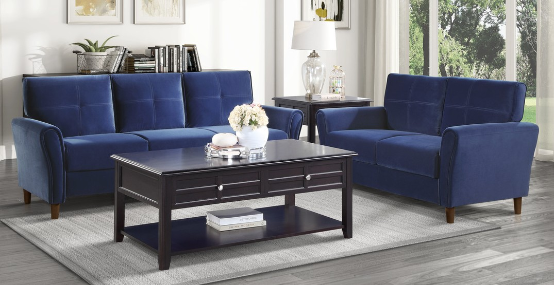 Homelegance 9348BUE-SL 2 pc Orren ellis Dunleith blue velvet fabric sofa and love seat set