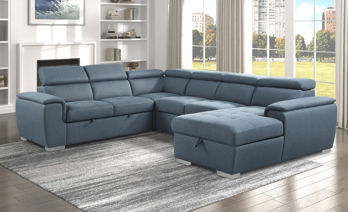 9355CC*42LRC 4 pc Winston porter cadence blue chenille fabric sectional sofa with storage chaise and sleep area