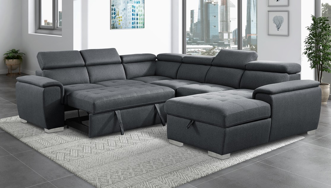 9355CC*42LRC 4 pc Winston porter cadence dark gray chenille fabric sectional sofa with storage chaise and sleep area