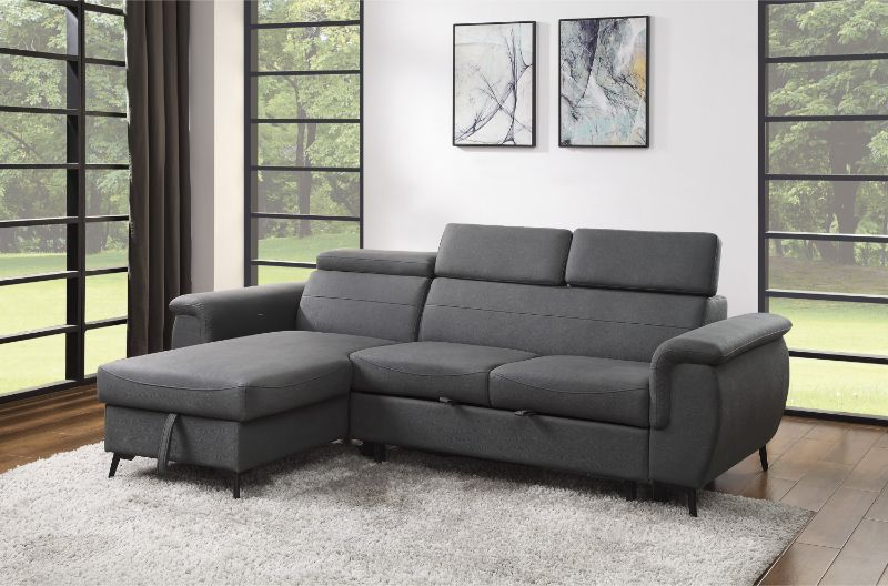 9403GY-SC Winston porter cadence gray fabric reversible sectional sofa with storage chaise