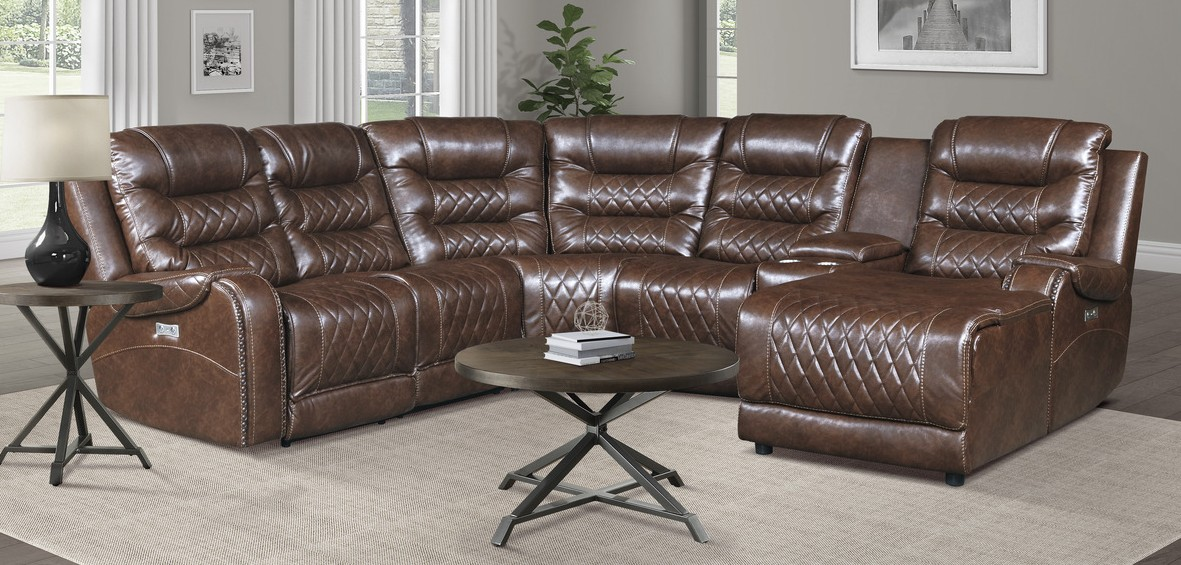 Homelegance 9405BR-6LRRC 6 pc Putnam brown polished microfiber sectional sofa with power recliners and chaise