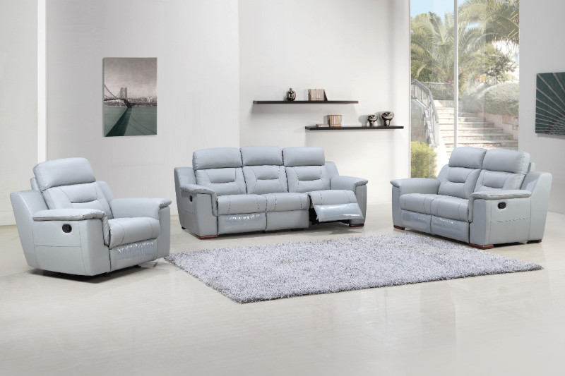 Global United 9408GR-2PC 2 pc Nova light gray leather gel sofa and love seat with recliner ends