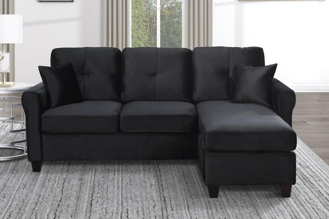 9411BK-3SC Winston porter monty black velvet fabric reversible sectional sofa