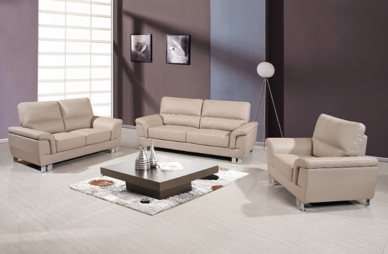 Global-United-9412BEI-2PC 2 pc Xenia collection modern style beige leather gel upholstered sofa and love seat set