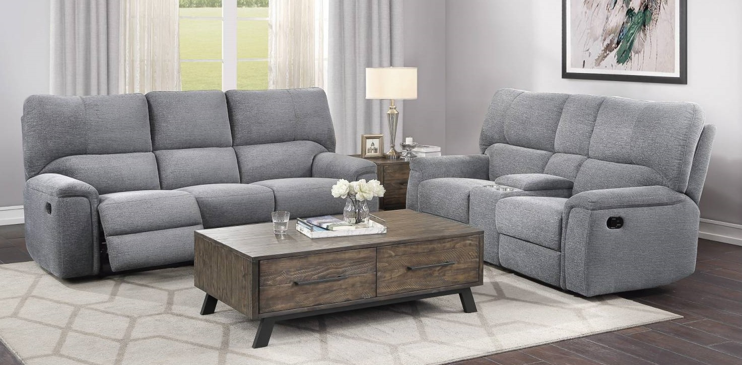 Homelegance 9413CC-2PC 2 pc Dickinson charcoal chenille fabric motion sofa and love seat set recliner ends
