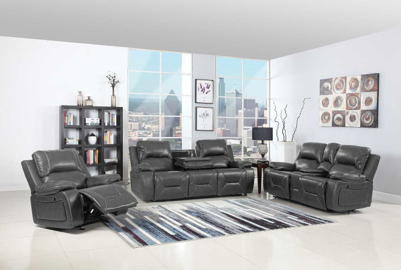 Global United 9422GR-2PC 2 pc Quincy gray leather aire sofa and love seat with console with recliner ends
