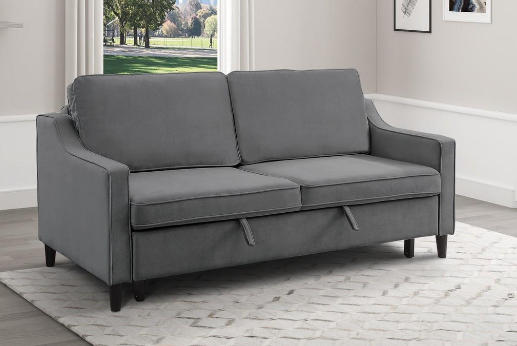 Homelegance 9428DG-3CL Winston porter Adelia dark gray velvet fabric sofa with pop up sleep area and fold down back