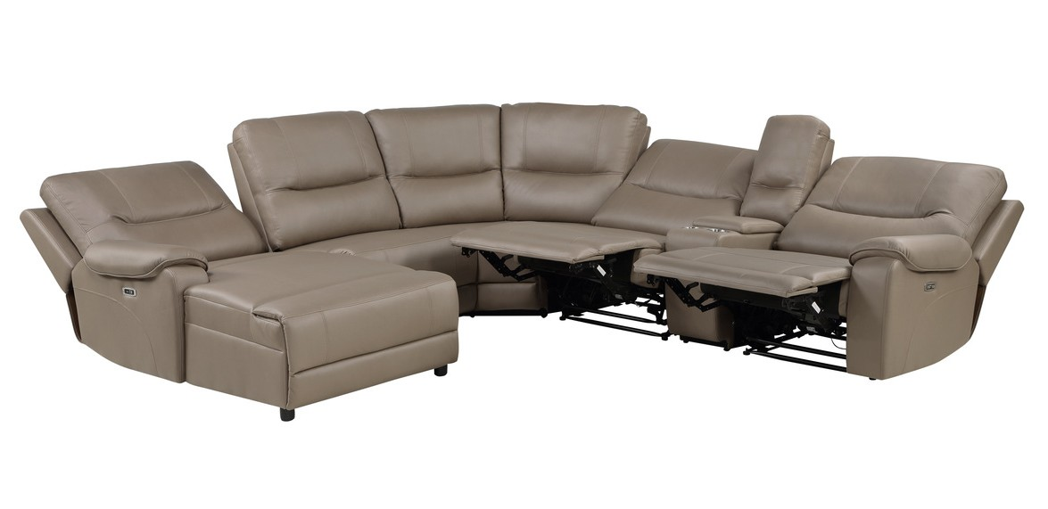 Homelegance 9429TP-6LCRRPWH 6 pc Legrande taupe premium faux leather sectional sofa with power recliners and chaise