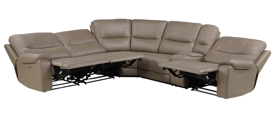Homelegance 9429TP-6LRRRPWH 6 pc Legrande taupe premium faux leather sectional sofa with power recliners