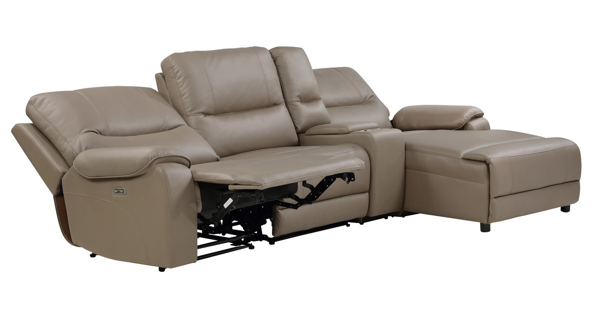 Homelegance 9429TP-4RCLRPWH 4 pc Legrande taupe premium faux leather sectional sofa with power recliners and chaise