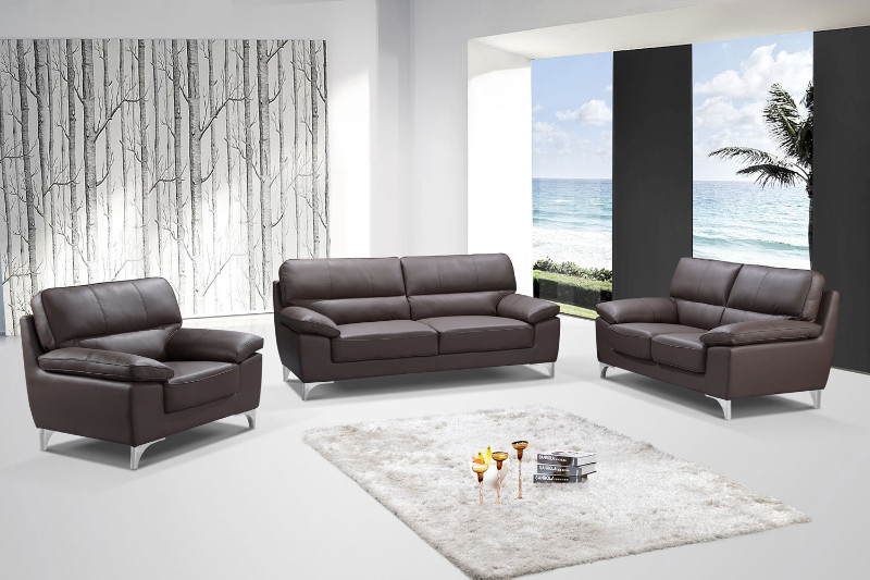 Global-United-9436BR-2PC 2 pc Xenia II collection modern style brown leather gel upholstered sofa and love seat set