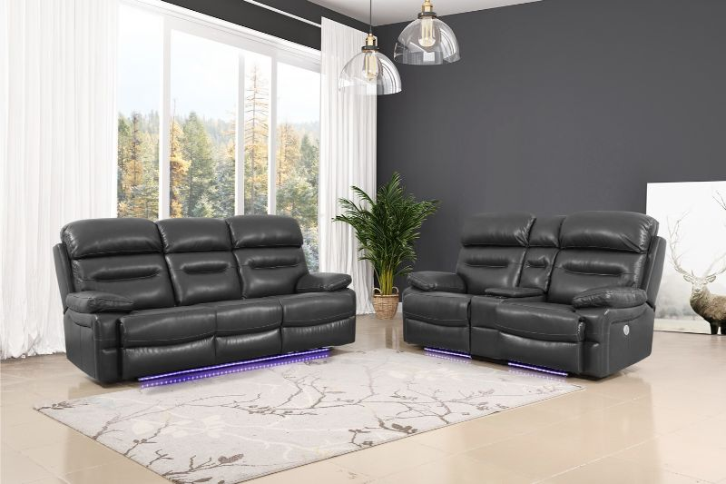 GU-9442GY-2PCPWR 2 pc Red barrel studio gray leather aire power motion recliners and headrests sofa and love seat set