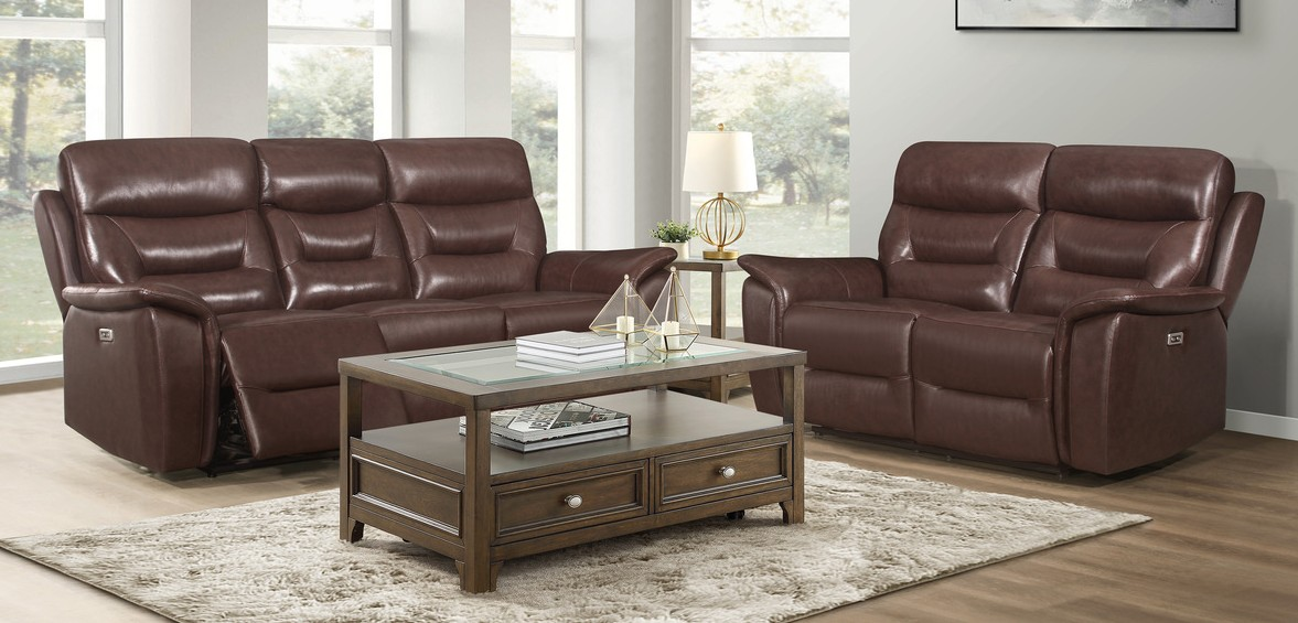 Homelegance 9445BR-2PWH 2 pc Armando brown top grain leather match power motion reclining sofa and love seat set