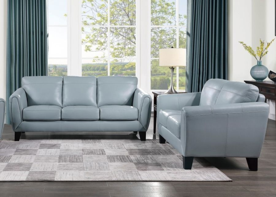 Homelegance 9460AQ-2PC 2 pc Spivey mid century modern aqua top grain leather match sofa and love seat set wide arms