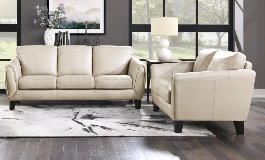 Homelegance 9460BE-2PC 2 pc Spivey mid century modern beige top grain leather match sofa and love seat set wide arms
