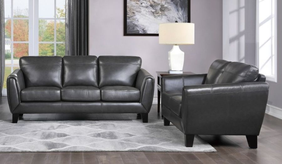 Homelegance 9460DG-2PC 2 pc Spivey mid century modern dark gray top grain leather match sofa and love seat set wide arms
