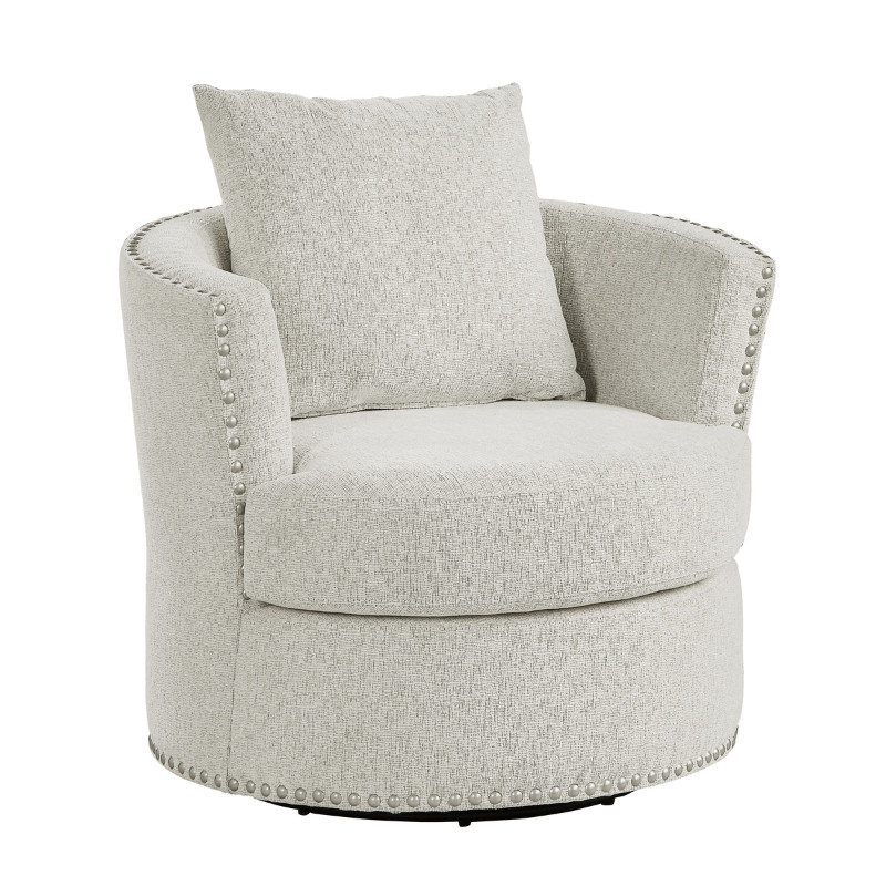 Homelegance 9468BE-1 Beverly Tolani beige chenille fabric barrel back round swivel chair nail head trim