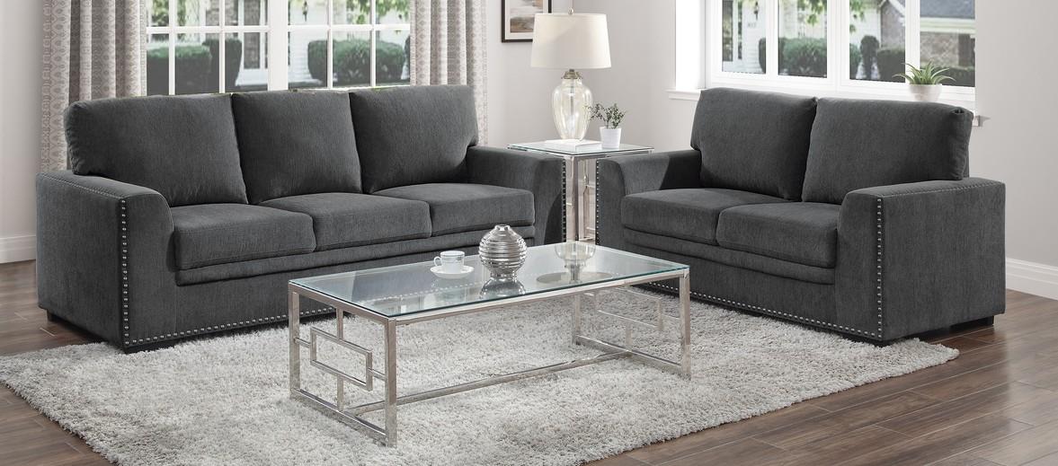 Homelegance 9468CC-2PC 2 pc Morelia Charcoal chenille fabric sofa and love seat set nail head trim