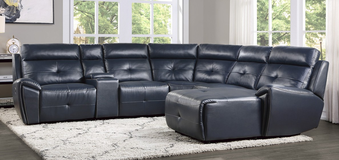 Homelegance 9469NVB-6LRRC 6 pc Avenue six navy blue faux leather sectional sofa with chaise and recliners