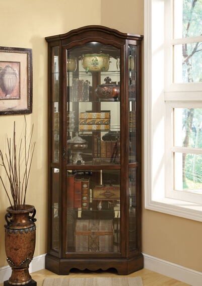 Rich brown finish wood corner curio glass front cabinet with glass shelves and rounded top
