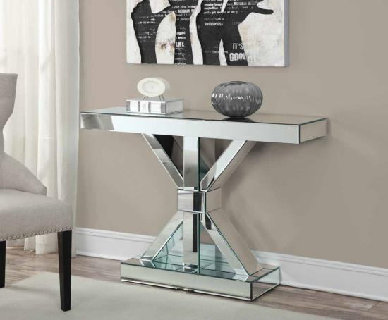 950191 Mercer 41 ishee mirror paneled hall console table with x shaped base and pedestal