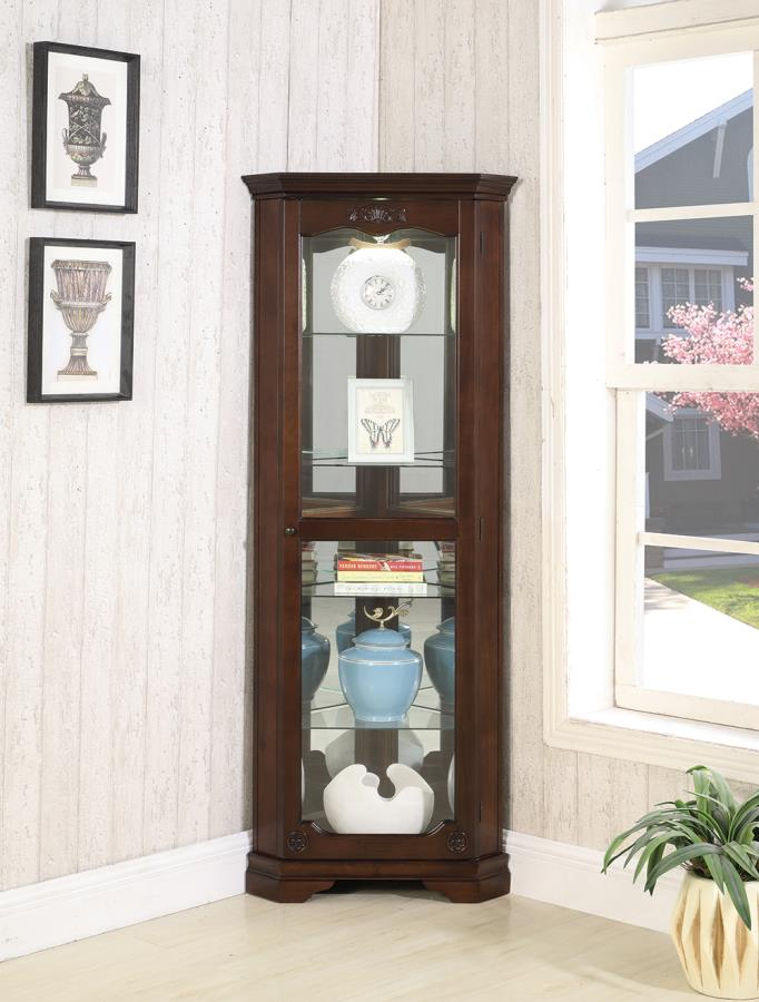 950195 Alcott hill darrens rich deep brown finish wood corner curio glass front cabinet
