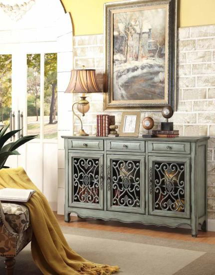 Mastery collection antique green finish wood cabinet with carved details