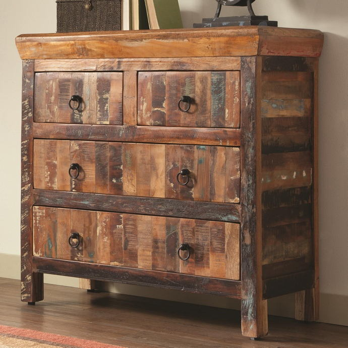 950366 Loon peak porter reclaimed wood finish 4 drawer hall chest dresser cabinet