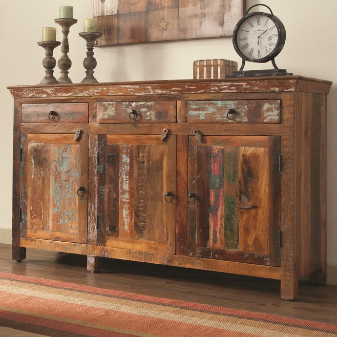 Reclaimed wood finish 3 drawer hall chest dresser transitional style with 3 drawers and 3 cabinets