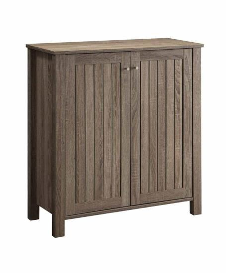 Weathered grey finish wood two door shoe cabinet with 4 shelves inside