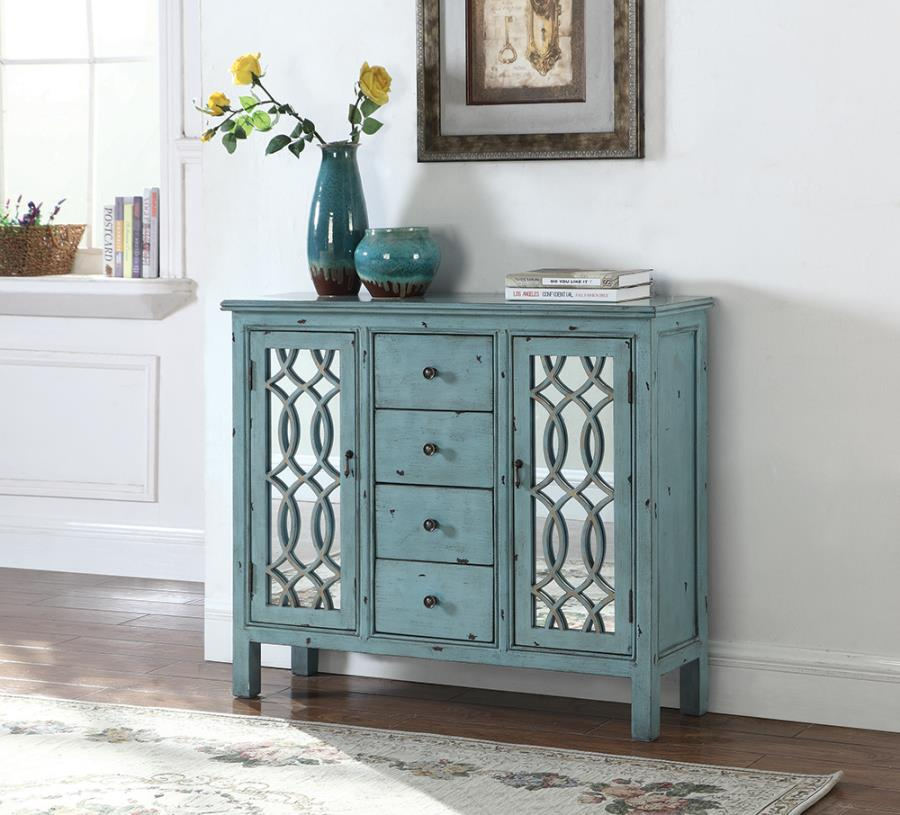 950736 One allium way antique blue finish wood and glass hall console table cabinet