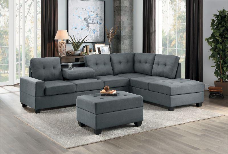 Homelegance 9507DGY-3PC 3 pc Maston dark gray fabric reversible sectional sofa set storage ottoman
