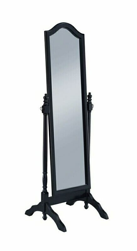 Black finish wood arched top turned post free standing cheval bedroom dressing mirror