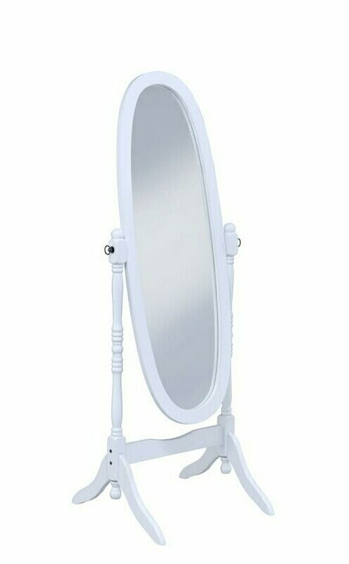 White finish wood oval turned post free standing cheval bedroom dressing mirror