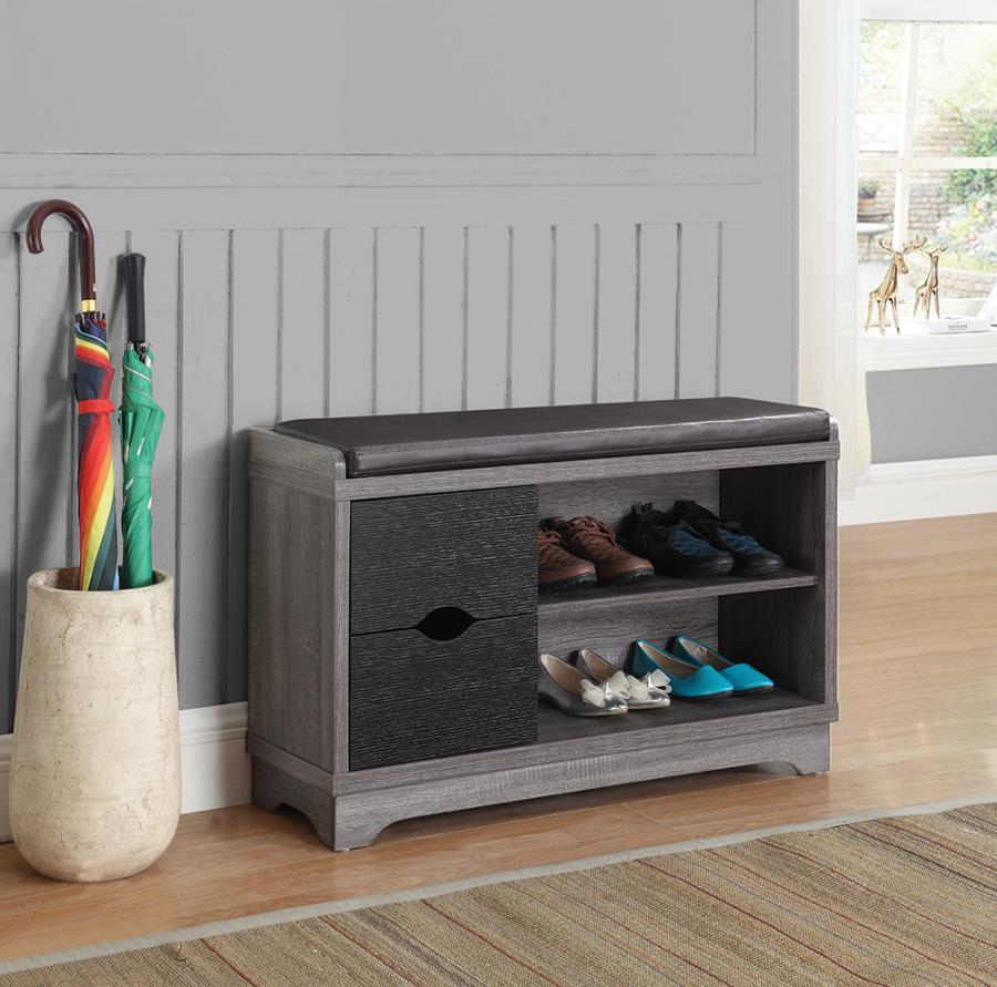 """950921 Loon peak 36"""" black and grey finish wood bedroom entry shoe storage bench"""