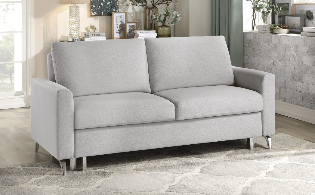 Homelegance 9525GRY-3CL Winston porter price gray textured fabric sofa with pop up sleep area and fold down back