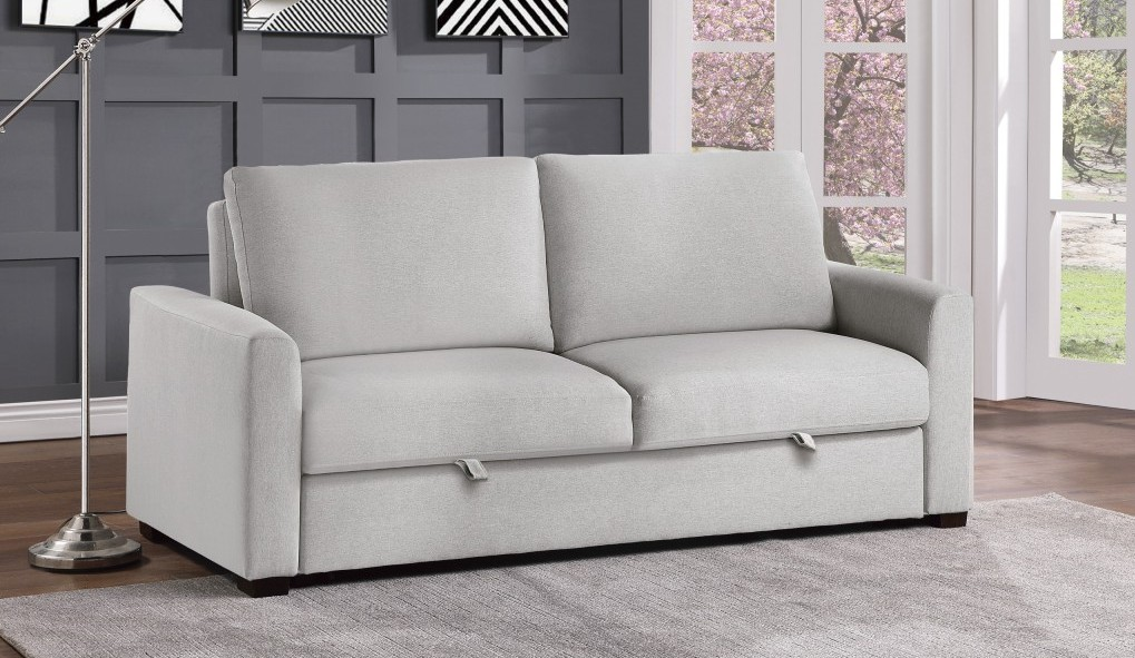 Homelegance 9525RF-3CL Winston porter price gray textured fabric sofa with pop up sleep area and fold down back