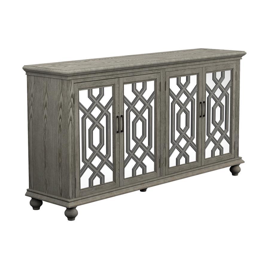 952845 Rosdorf park landsend antique white finish wood console server buffet cabinet