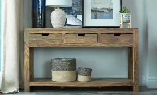 952853 Foundry select janine natural brown finish wood console entry table