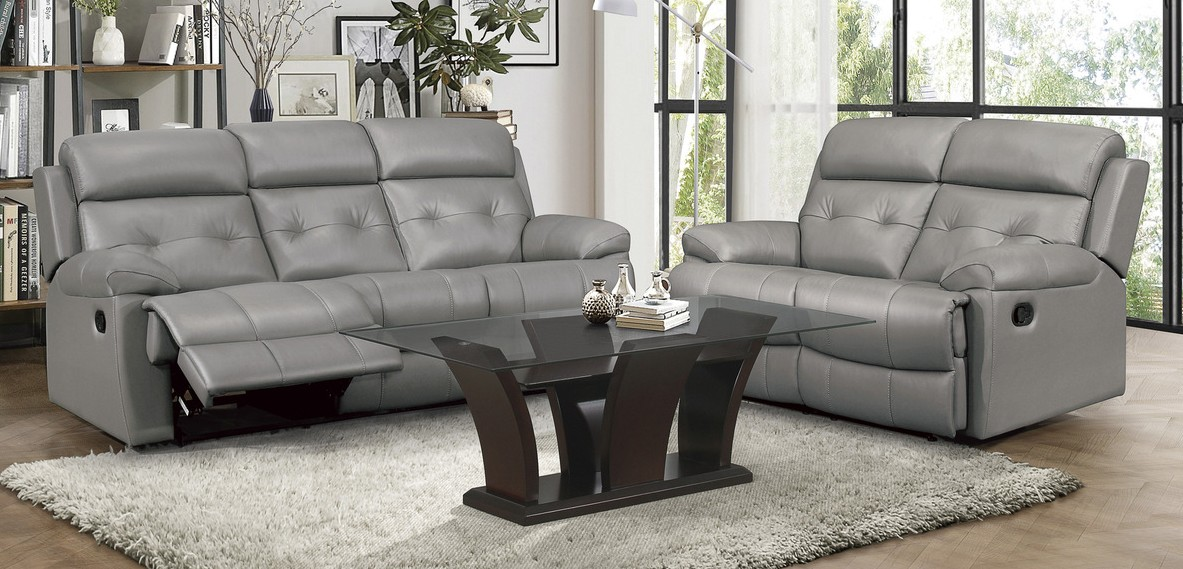 Homelegance 9529GRY-2PC 2 pc Lambent gray top grain leather match sofa and love seat set recliner ends
