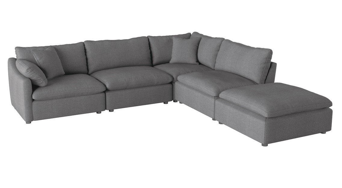 Homelegance 9544GY-5OT 5 pc Winston porter Howerton gray performance fabric modular sectional sofa with ottoman