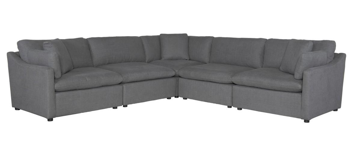 Homelegance 9544GY-5SC 5 pc Winston porter Howerton gray performance fabric modular sectional sofa
