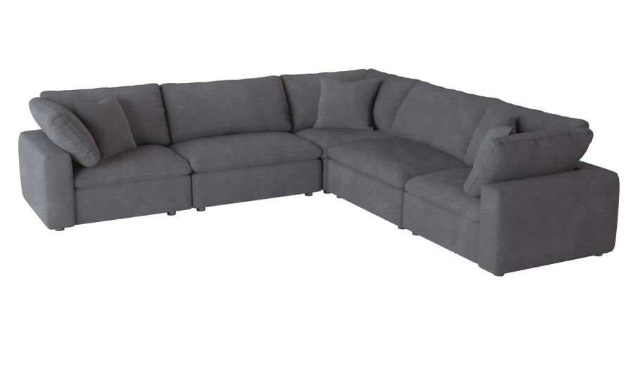 Homelegance 9546GY-5pc1 5 pc Guthrie gray fabric down topped seating modular sectional sofa set